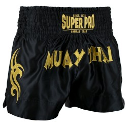 Super Pro Fighter Thaiboxing Short Schwarz Gold