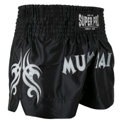 Super Pro Fighter Thaiboxing Short Schwarz Silber
