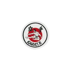 Kwon Stickabzeichen Karate weiss rot