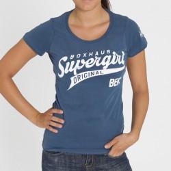 Abverkauf BOXHAUS Brand Supergirl Women Tee blue XL