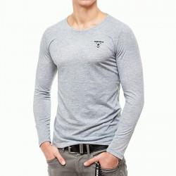 Abverkauf  BOXHAUS Brand Incept Round-Neck Basic Shirt LS grey htr
