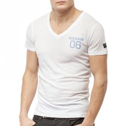Summersale BOXHAUS Brand Argo V-Neck Modal T-Shirt White
