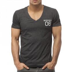 BOXHAUS Brand Argo V-Neck T-Shirt black htr