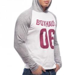 BOXHAUS Brand Cona Kapuzenshirt LS white-grey htr
