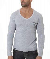 BOXHAUS Brand Vicon langarm V-Neck grey htr