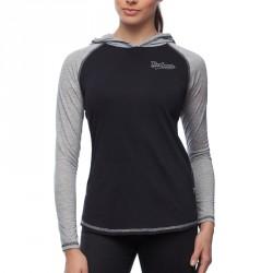 BOXHAUS Brand Sairon Kapuzenshirt LS Women black-grey htr