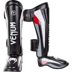 Venum Elite Standup Shinguards Black Red Grey