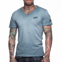 Summersale BOXHAUS Brand Sairon V-Neck T-Shirt tealblue
